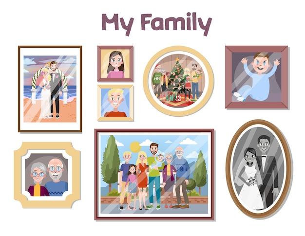 프레임의 가족 초상화 갤러리. 사람들의 그룹의 사진. 귀여운 엄마와 아빠가 사랑에 빠졌습니다. 만화 스타일에 고립 된 벡터 일러스트 레이 션 프리미엄 벡터