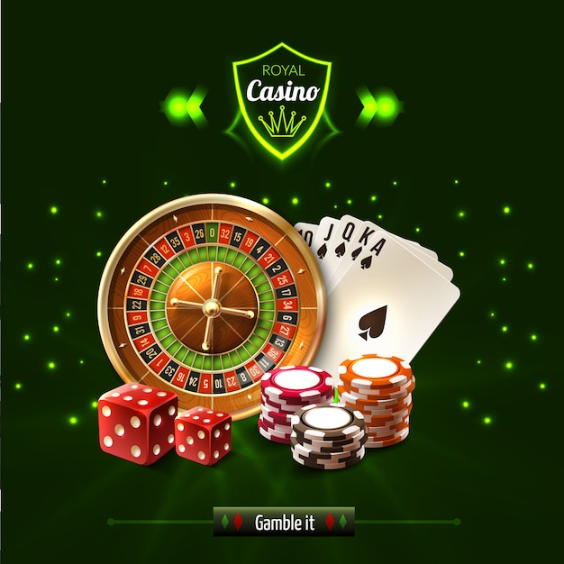 Gamble it casino realistic composition Free Vector