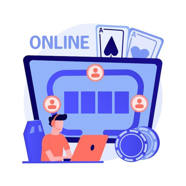 Giocatore d'azzardo che gioca a poker online, ragazzo ha vinto in un casinò online. gioco di carte rischioso, gioco d'azzardo digitale, torneo virtuale. giocatore di successo con buona fortuna. illustrazione della metafora del concetto isolato di vettore Vettore gratuito