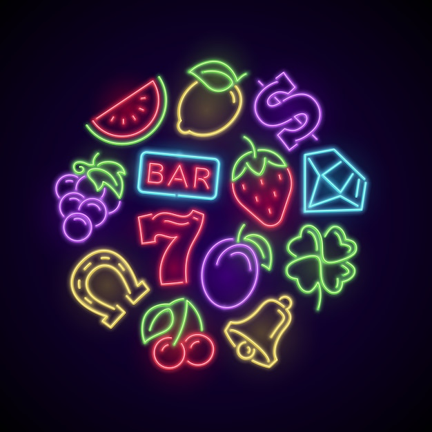 Gambling casino games neon with slot machine bright elements. illustration of casino and poker, luck game gambling vector Premium Vector