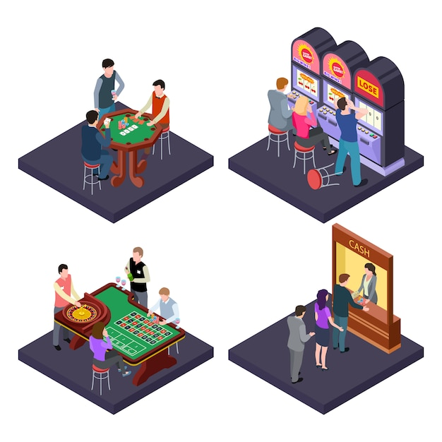 Gambling, casino isometric  composition with slot machines, poker, cash exchange Premium Vector