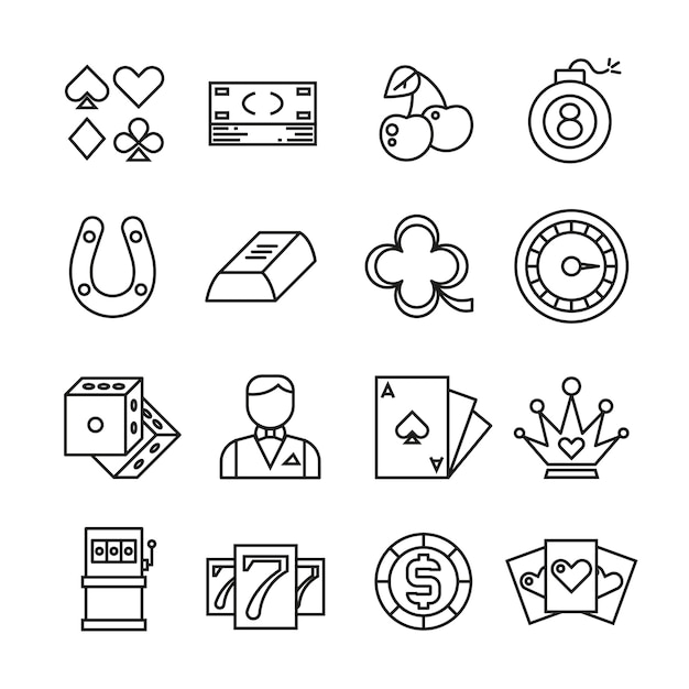 Gambling, casino, poker thin line simple icons Premium Vector
