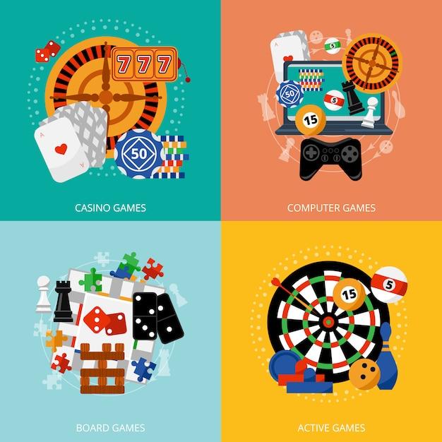 Gambling games 4 flat icons square Free Vector
