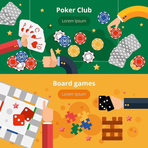 Gambling games flat banners set Free Vector