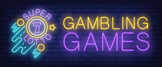 Gambling games, super lotto neon sign Free Vector