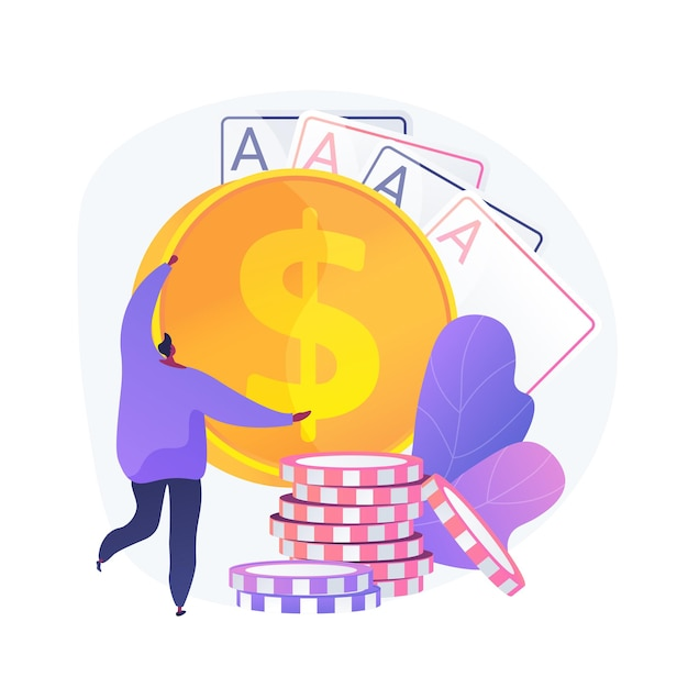 Gambling winnings, luck and chance, jackpot prize. casino, poker, card game win. money winner, gambler, card player cartoon character. vector isolated concept metaphor illustration. Free Vector