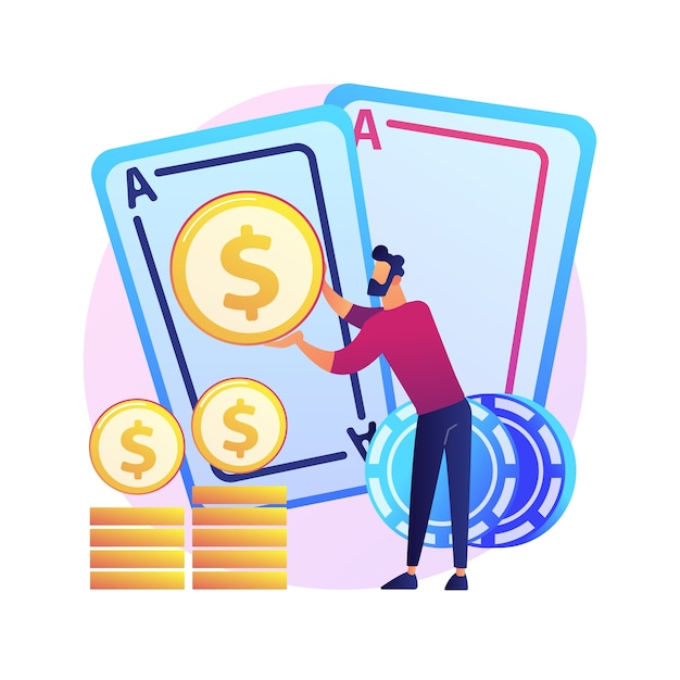 Free Vector Gambling Winnings Luck And Chance Jackpot Prize Casino Poker Card Game Win Money Winner Gambler Card Player Cartoon Character
