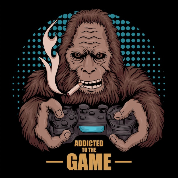 Game addicted bigfoot Premium Vector