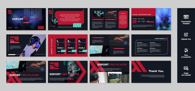 게임 및 Esport 프레젠테이션, 파워 포인트 템플릿 Wirth 어두운 색 배경 프리미엄 벡터