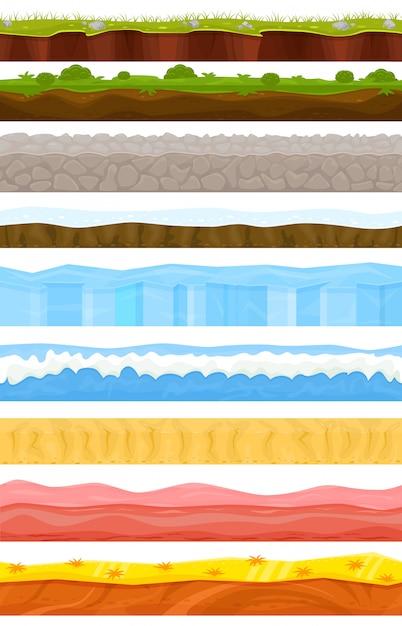 夏または冬のゲーム背景漫画風景インターフェイスゲーミフィケーションとゲームシーン草石氷背景イラストセット海水中海または砂漠の壁紙 Premiumベクター