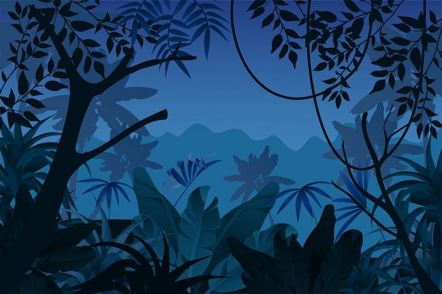 Game background night tropical jungle. Free Vector