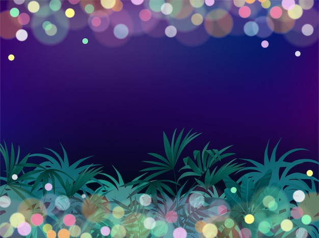 Game background night tropical jungle. Premium Vector