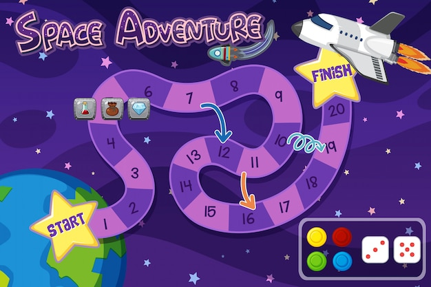 Game background template with spaceship in sky Premium Vector
