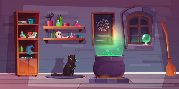 Game background of witch house Free Vector