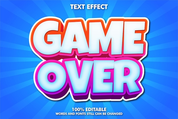 Game over banner, editable cartoon font Free Vector