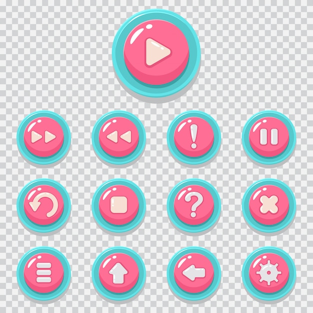 Game button vector cartoon icons set  web element for mobile