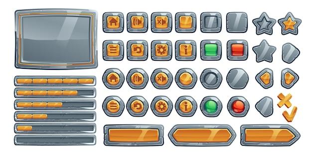 게임 버튼, 돌, 금속 및 금 질감의 만화 인터페이스. 무료 벡터