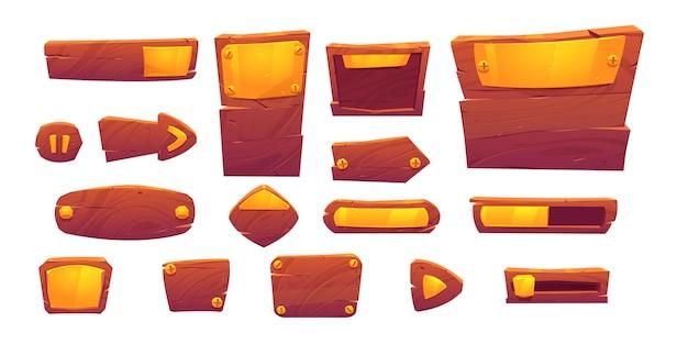 Pulsanti di gioco di struttura in legno e oro, elementi dell'interfaccia del menu dei cartoni animati Vettore gratuito