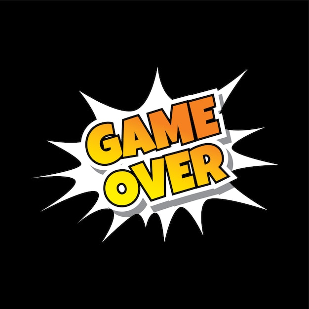 Game over comic speech bubble cartoon game assets Premium Vector
