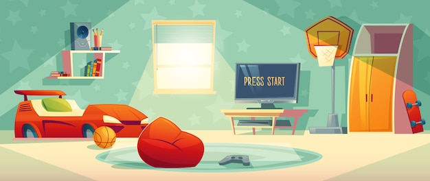 Game console in kid room vector illustration Free Vector