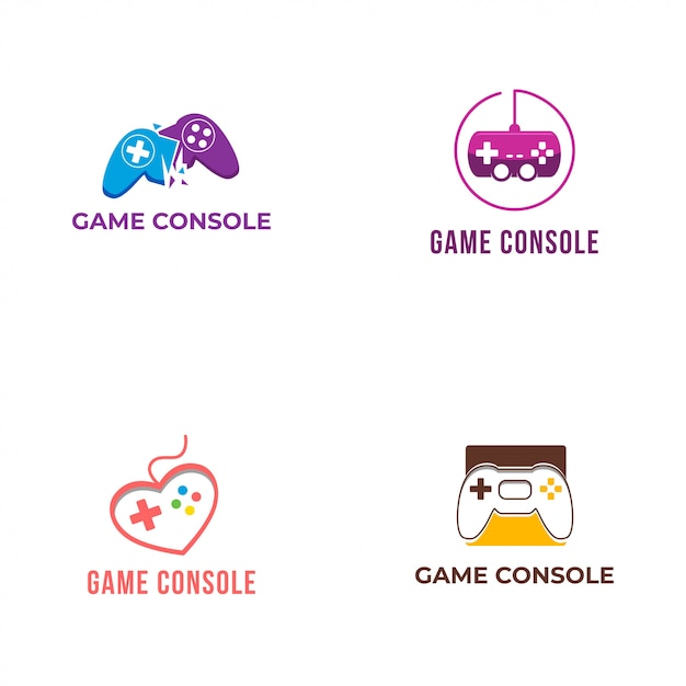 Game console logo collection Premium Vector