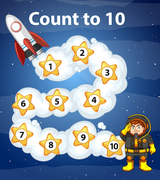 Game design with counting to ten in space Free Vector