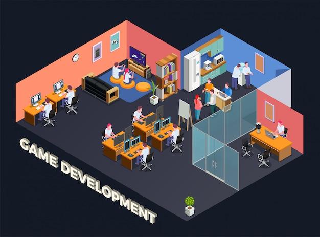 Разработка игр изометрическая композиция с программистами и геймерами, сидящими за компьютером в офисном интерьере Бесплатные векторы