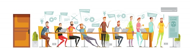 Game development meeting composition Free Vector