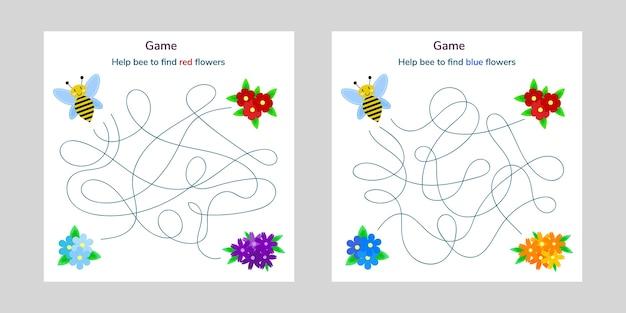 아이들을위한 게임. 아이들을위한 미로 또는 미로. 만화 귀여운 꿀벌과 꽃. 얽힌 도로. 프리미엄 벡터