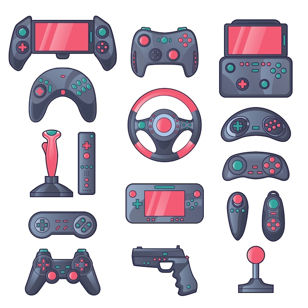 Game gadget color icons set Free Vector