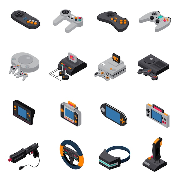 Game gadgets isometric icons collection Free Vector