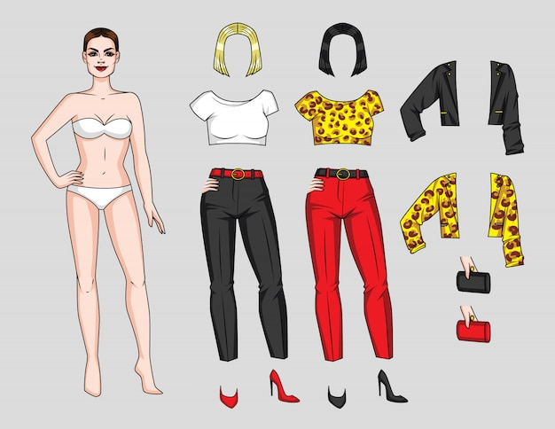 Game for girls paper doll with wardrobe Premium Vector