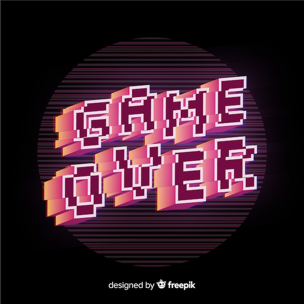Game over glitch background Free Vector
