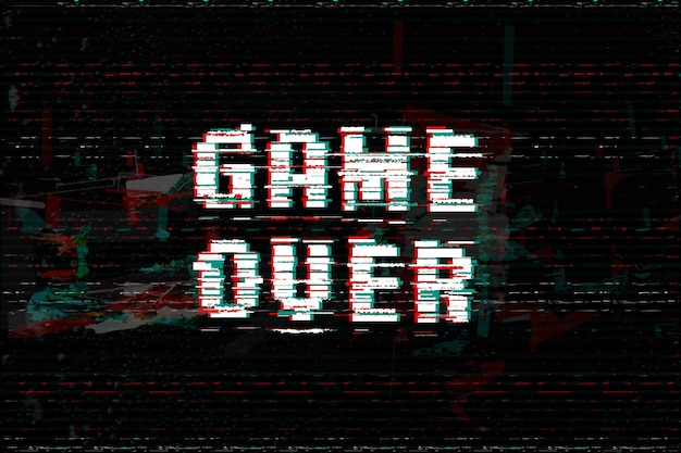 Game over glitch effect text Premium Vector