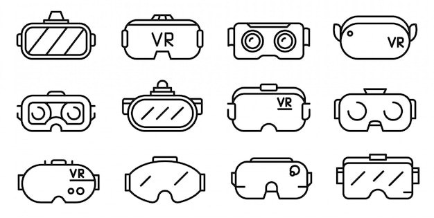 Game goggles icons set, outline style Premium Vector