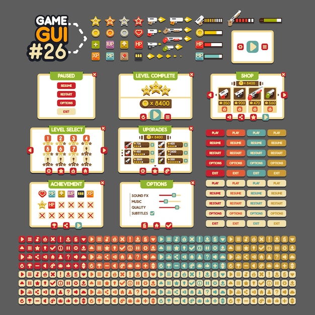 Game gui Premium Vector