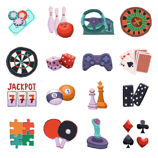 Game icons set Free Vector