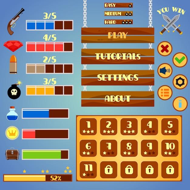 Game interface elements design Premium Vector