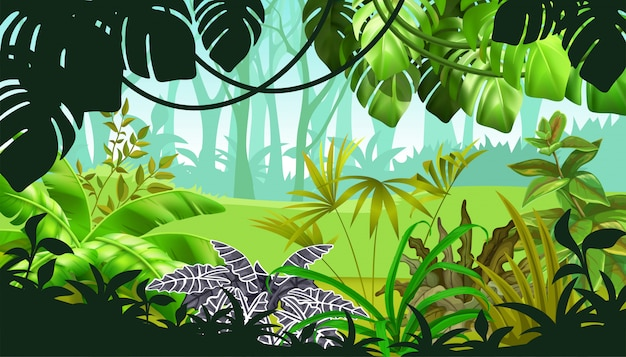 熱帯植物のあるゲーム風景 無料ベクター