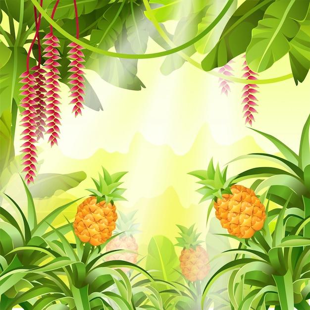 Игровой пейзаж с тропическими растениями Бесплатные векторы