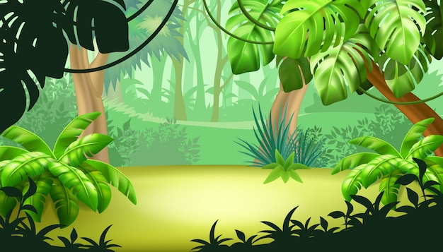 Game landscape with tropical plants. Free Vector