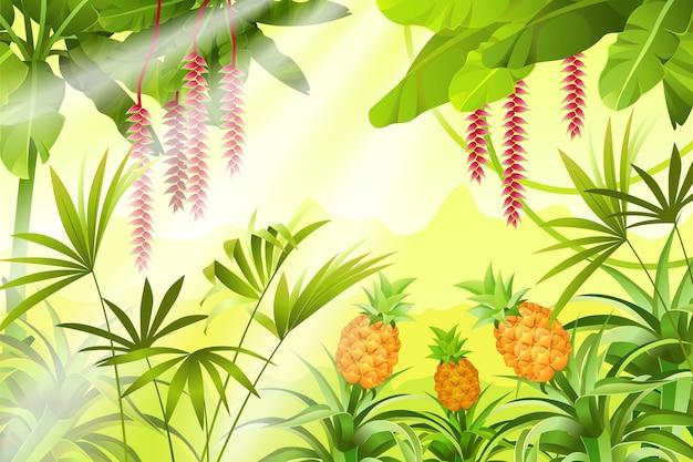 熱帯植物のあるゲーム風景。 無料ベクター