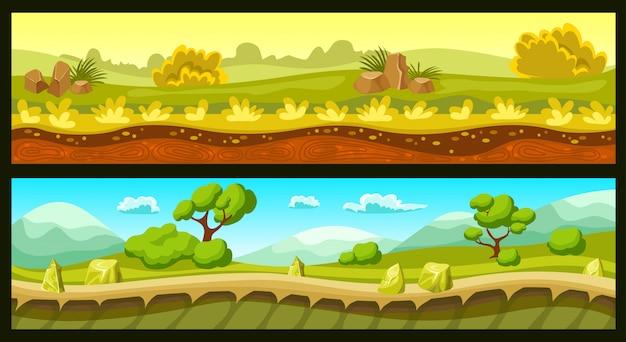 ゲーム風景の水平方向のバナー 無料ベクター