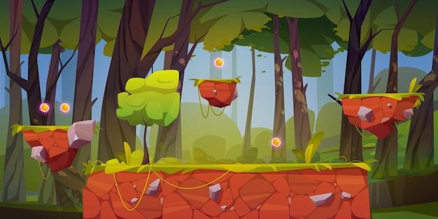 플랫폼과 아이템이있는 게임 레벨 배경 무료 벡터