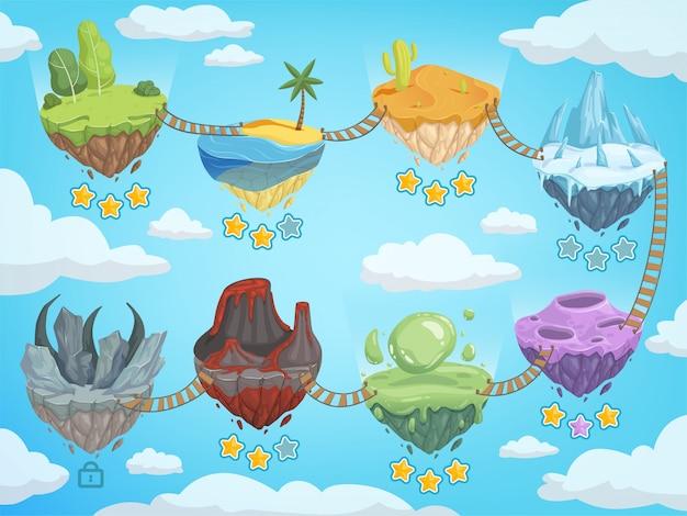 ゲームレベルマップ。岩草氷水と火山ベクトルテンプレートと様々な等尺性島とモバイルuiステージ Premiumベクター