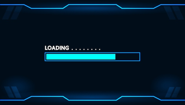 Game loading on monitor technology concept design. Premium Vector