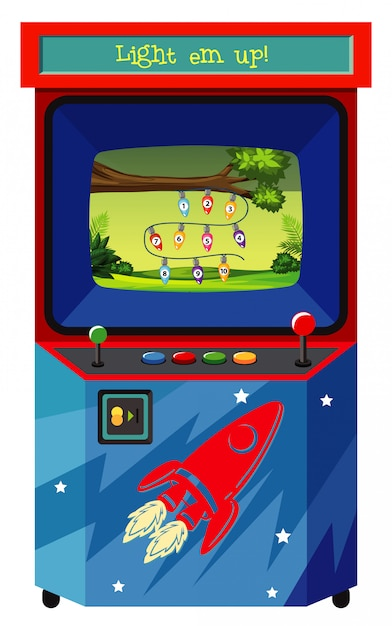 Game machine for counting numbers on white Free Vector