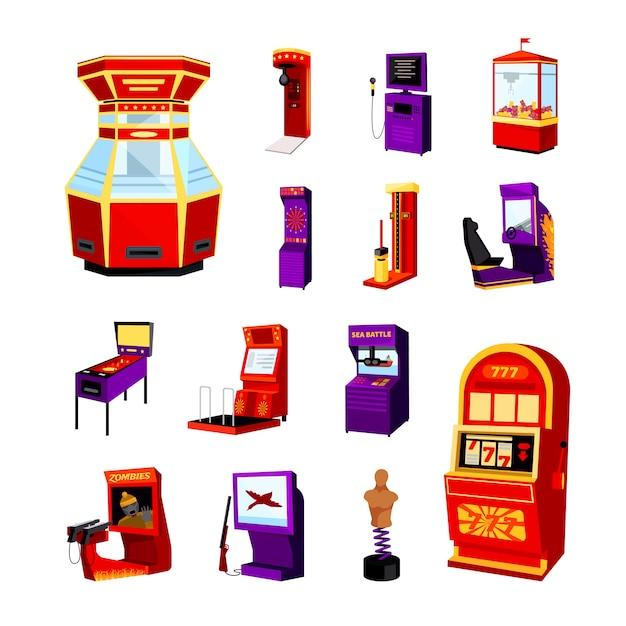 Набор иконок игровой автомат Бесплатные векторы