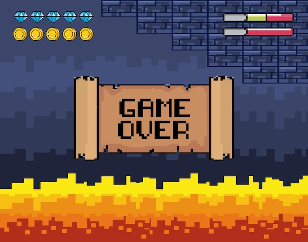 Game over message with fire scene and life bars Vector