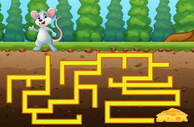 Game mouse maze find way to the cheese Premium Vector